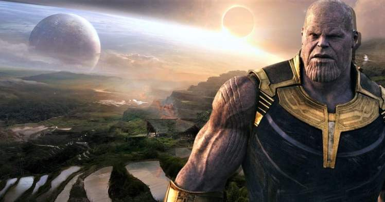 "Thanos as the sun sets on his ""grateful"" universe"